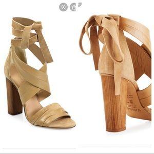 Vince Beatrice Tan Suede Leather Wraparound Heel